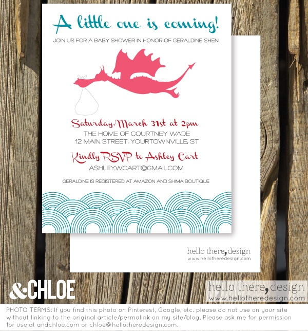 year of the dragon - baby shower invite - hello there, design by chloe (www.hellotheredesign.com) | &chloe andchloe.com