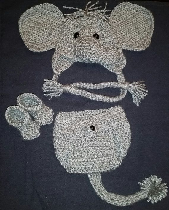 Crochet Newborn Elephant Outfit - Baby Girl or Boy Safari Costume - Photo Prop - Beanie Hat, Diaper Cover, and Booties. Handmade & Homemade