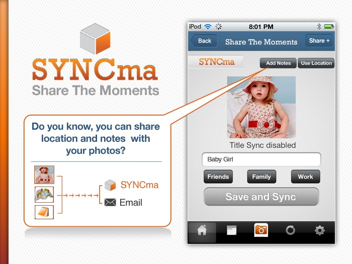 Download SYNCma today and use such high class features for photo sharing.