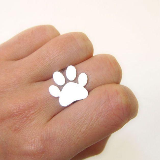 pies / kot / pet / print pierścień paw silver ring - smilingsilversmith - Pierścionki