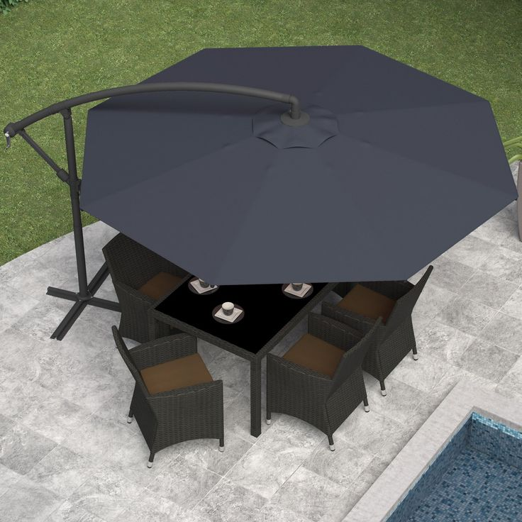 Steel Offset Umbrella   Designed For Outdoor Table Without Umbrella Holes,  The CorLiving Offset Patio Umbrella Allows You To Still Enjoy Shade While  Dining.