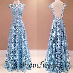 #promdress01 prom dresses -cute sky blue lace satin backless custom made prom dress for teens, ball gown, evening dress,graduation dress #coniefox #2016prom