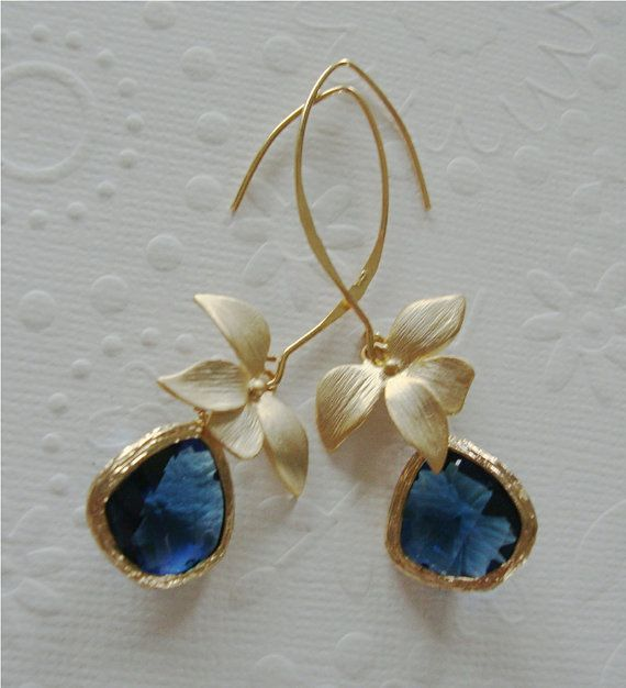 Vermeil Gold dangle earrings / orchid jewelry / Blue sapphire glass / Long  drop earring / Flower jewelry / wedding gift / Valentines day on Etsy, $38.00