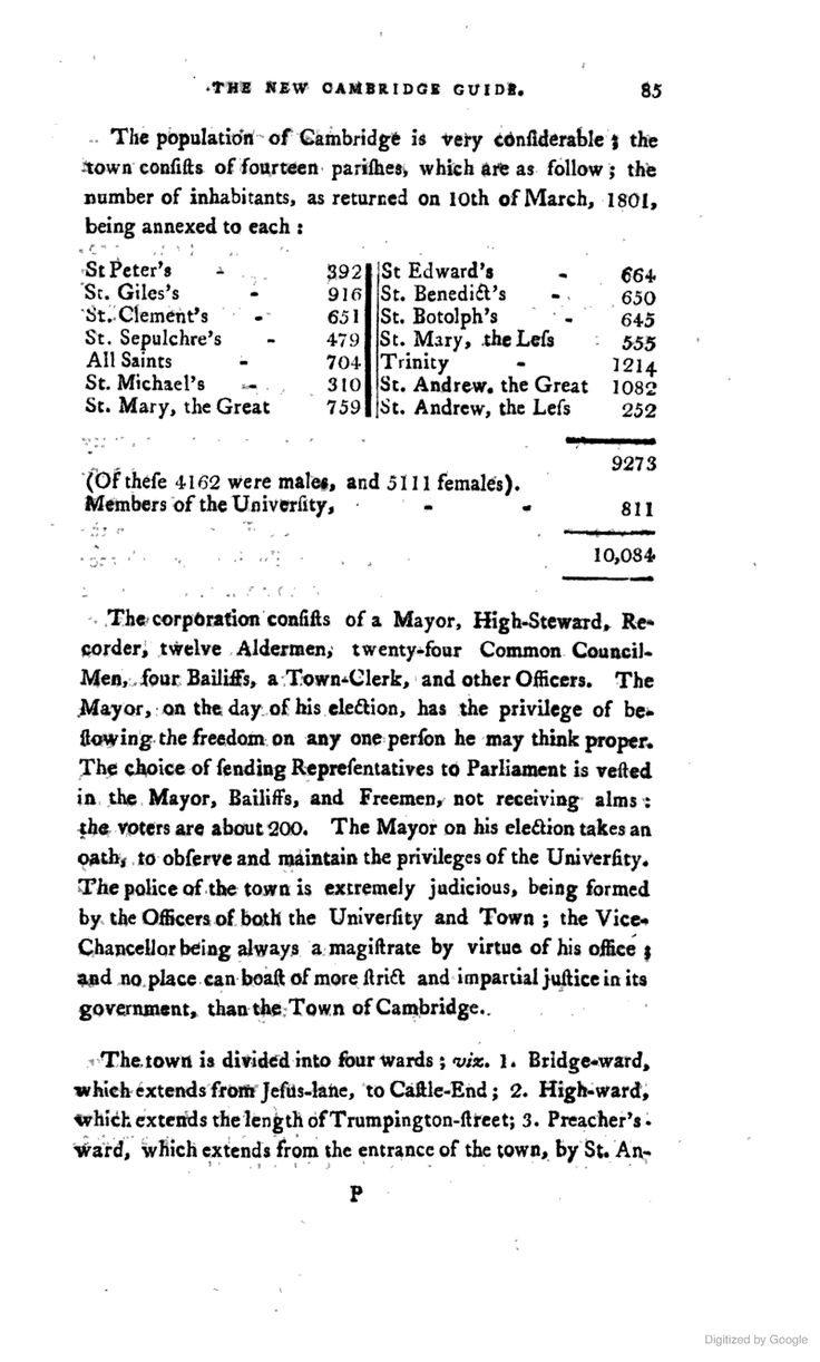 Population And Makeup Of Cambridge U As Of 1801 Return 10,084 Over 14  Parishes,