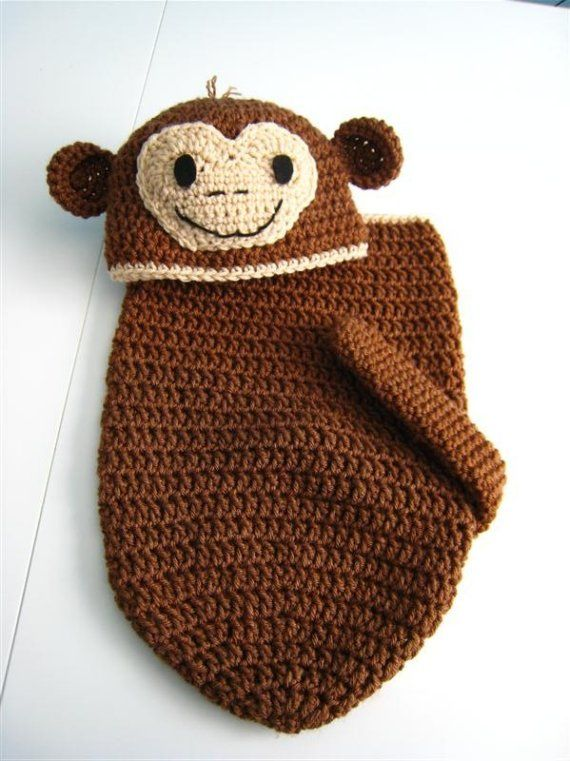 Free Crochet Pattern For Monkey Tail : Little Monkey Newborn Baby Cocoon and Hat Set Crochet with ...