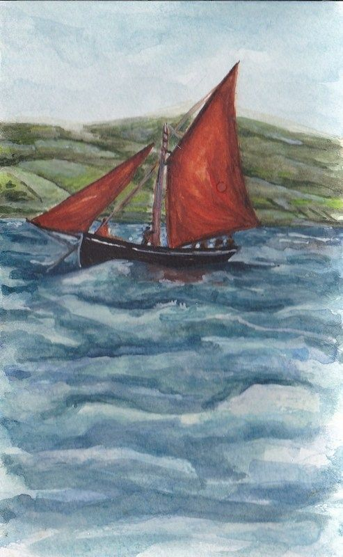 Galway Hooker Races by Fiona Concannon on ArtClick.ie Irish Seascape Watercolour Art Galway