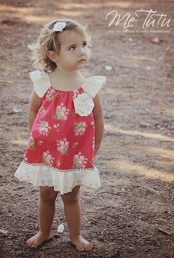 Vintage Shabby Chic  Red, Pink and Beige Floral Girl Baby Girl Dress
