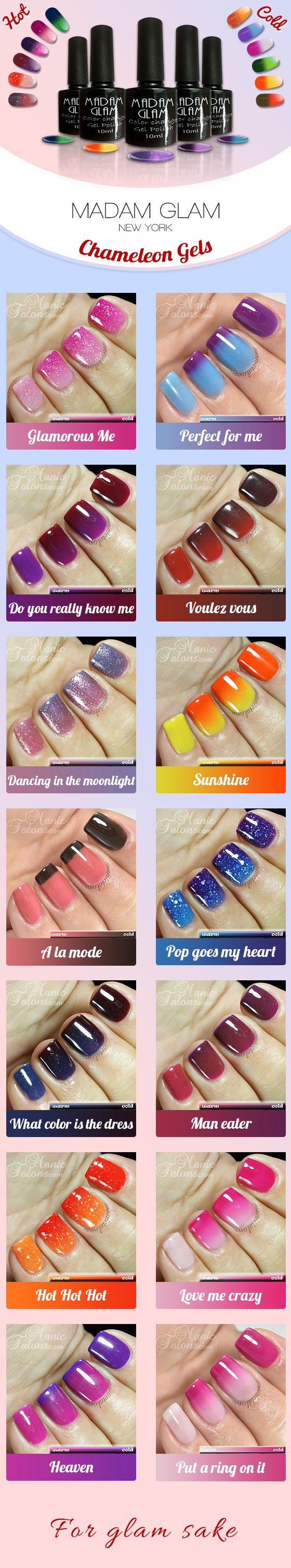 You're hot then you're cold! See those chameleon gels change colors as your nails change temperature! Click, sign up and shop them all at 50%off now! https://www.madamglam.com/?utm_source=pinterestad-chameleonswatches