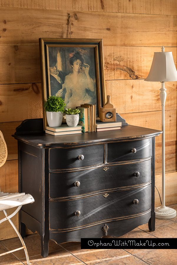 "another black-painted piece.  its black paint always transforms furniture to such opulence and it never  disappoints!  Here is my latest..........  Oak dresser finished in ""Liquorice"" Country Chic Paint.  This oak dresser was a piece brought to me from a client that had purchased  my two black end ..."