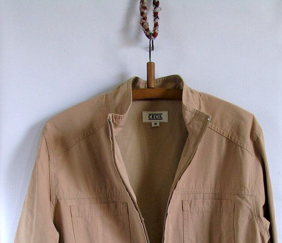 90s beige sports jacket zipper by artwardrobe on Etsy, $24.00