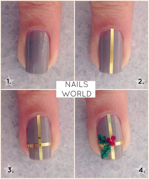Simple Christmas nail art