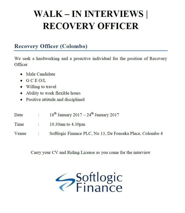 Recovery Officer at Softlogic Holdings PLC | Career First