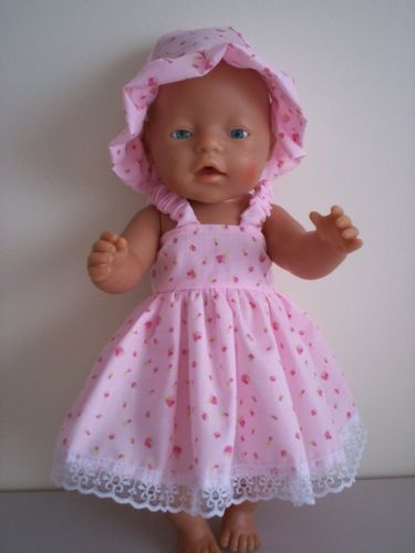 BABY BORN DOLLS CLOTHES PINK SUMMER OUTFIT WITH LITTLE ROSES