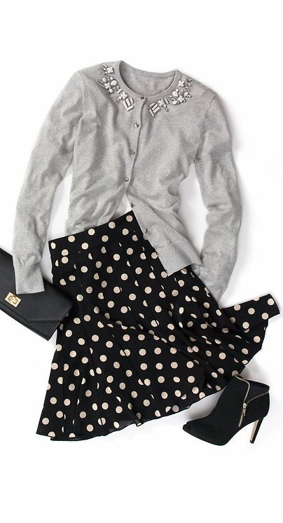 Polka Dot Pleated Skirt and Jeweled Cardigan from Ann Taylor
