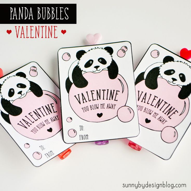 Sunny by Design: Panda Bubbles (Free) printable Valentine card