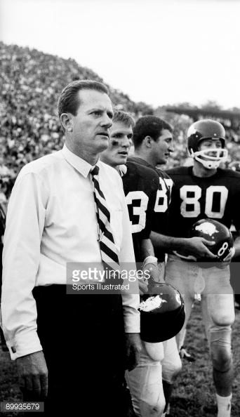 arkansas football sports illustrated | News Photo: Arkansas coach Frank Broyles on sidelines during game…