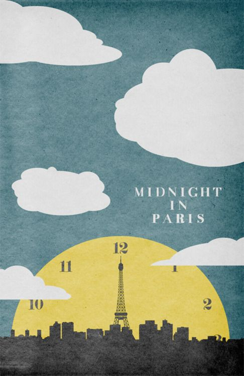 midnight in paris: Minimalist Posters, Cool Posters, Minimalist Movie Posters, Midnight In Paris, Frames Prints, Posters Design, Graphics Design, Woody Allen, Minimal Movie Posters
