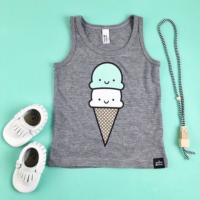 Beluga Minimoc moccasins, Whistle and Flute Ice Cream tank and Coral Cloud necklace.