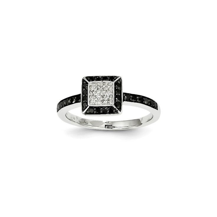 14k White Gold White & Black Diamond Square Ring – Goldia.com