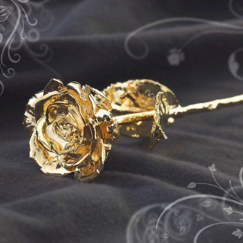 vergoldete Rose in edler Geschenk Schatulle. Geerntet auf dem Höhepunkt der Blüte. Ein Liebesbeweis als Symbol ewiger Liebe zum Jahrestag oder Valentinstag für deinen Frau oder deinen Schatz.