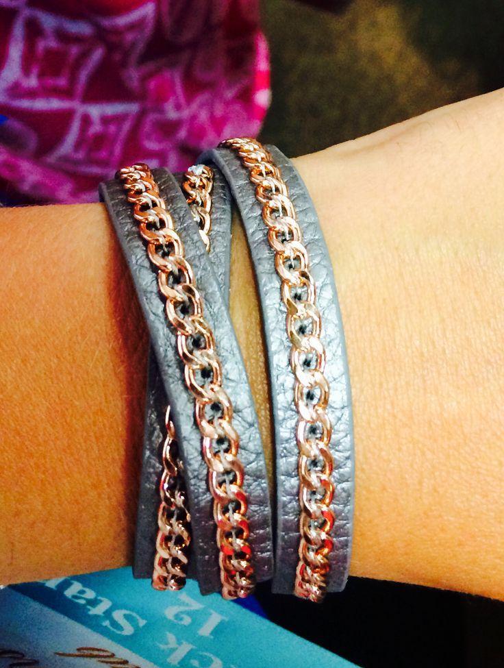 PDJ : On the Edge - rose gold tone, genuine leather wrap bracelet.