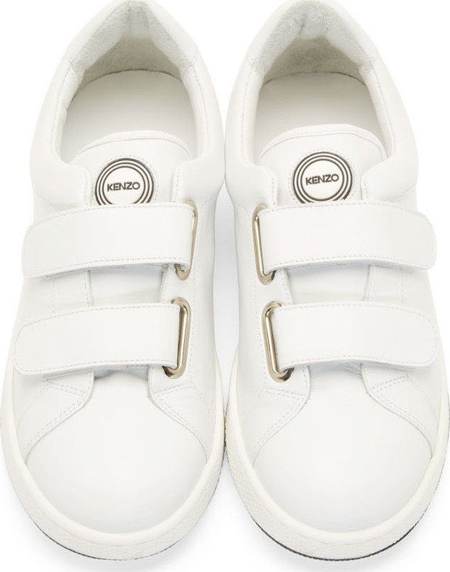 Kenzo: White Leather Velcro Sneakers | SSENSE