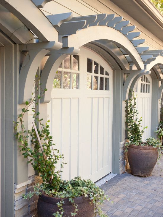 Curved Trellis Over Garage Doors. CURB APPEAL U2013 Traditional Garage And Shed  By Three River Stone