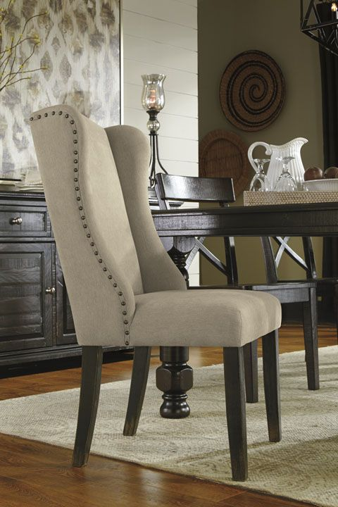 A simple and neutral upholstered dining chair fits into most styles  provides a visual anchor 23 best model home rooms images on Pinterest Dining sets