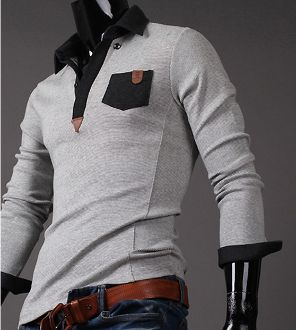 Men's Long Sleeve Polo Shirt with Contrasting Pocket