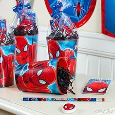 Spider-Man party cups do double-duty as cool favor containers!