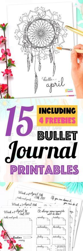 15 Bullet Journal Printables April 2017 including 4 Free Printable Pages: Habit Tracker, Monthly Log and many more beautiful pages. // by Wundertastisch Design
