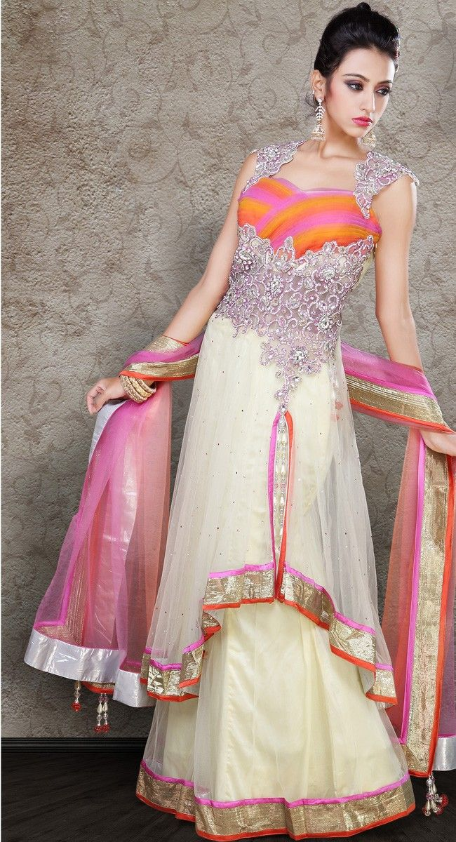 Chic Apricot, Beige Brown & Deep Pink Lehenga Choli | Price: $331