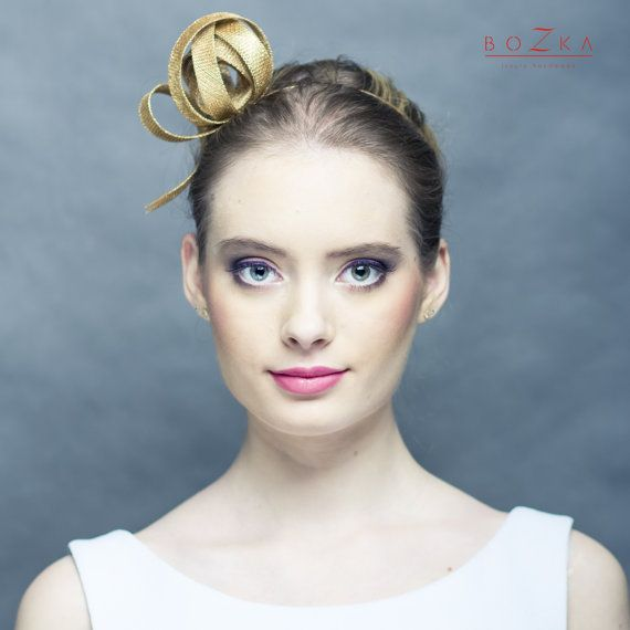 Modern fascinator , gold fascinator, small gold fascinator, golden headpiece