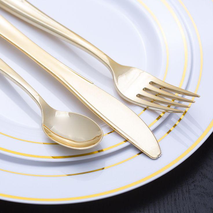10280 Gold Rimmed White Plate Value Pack