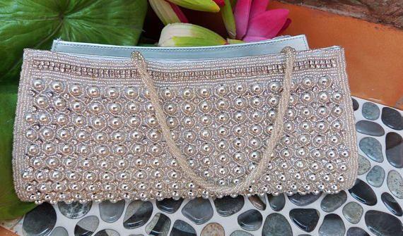 Bridal Clutch Bag Pearl Silver clutch Artcraving hand beaded