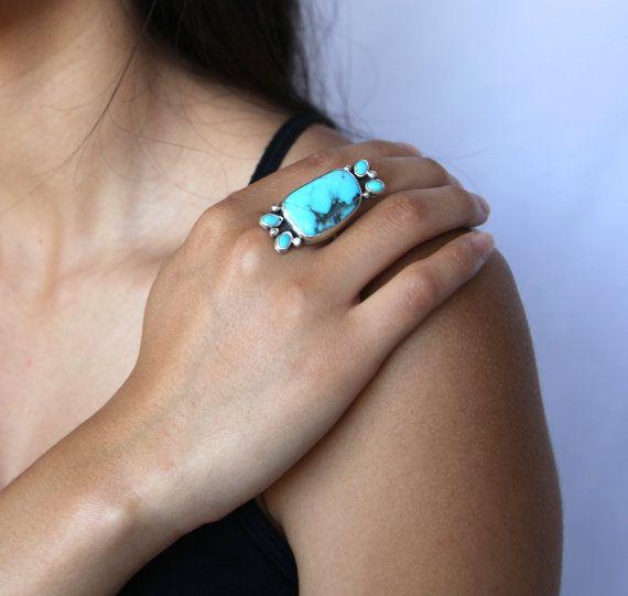 Halona anillo anillo de turquesa anillo de plata por GXDjewelry