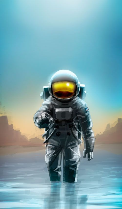 """The Impossible Astronaut by pungang.deviantart.com - Fan art of """"some one"""" inside a NASA astronaut suit in Doctor Who: The Impossible Astronaut."""