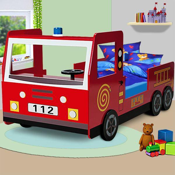 Lit enfant design camion pompier avec sommier - Achat / Vente ensemble literie - Cdiscount