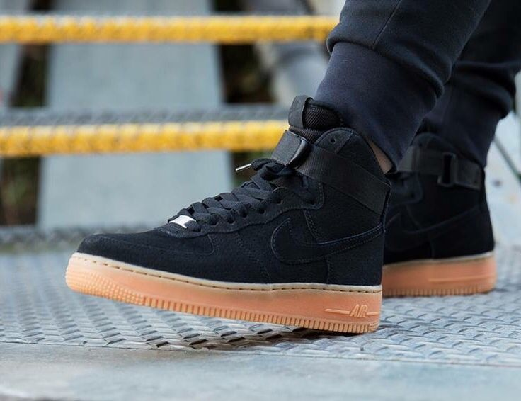 Nike Air Force 1 High: Black/Gum | Adidas shoes outlet, Nike shoes ...