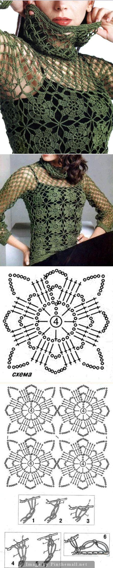 Crochet motif pullover with collar or cowl ༺✿ƬⱤღ http://www.pinterest.com/teretegui/✿༻