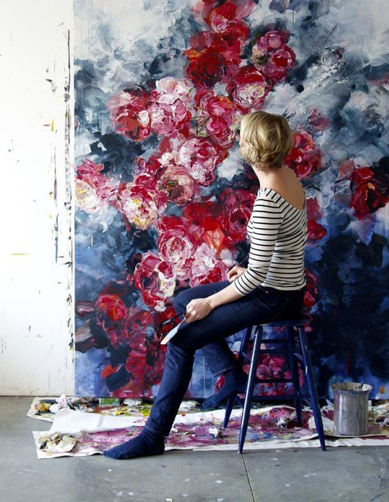 Artist Creates Larger-Than-Life Abstract Floral Paintings Bursting with Color