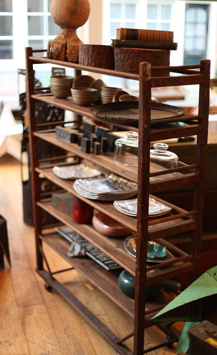 Vintage rolling rack from New England shoe