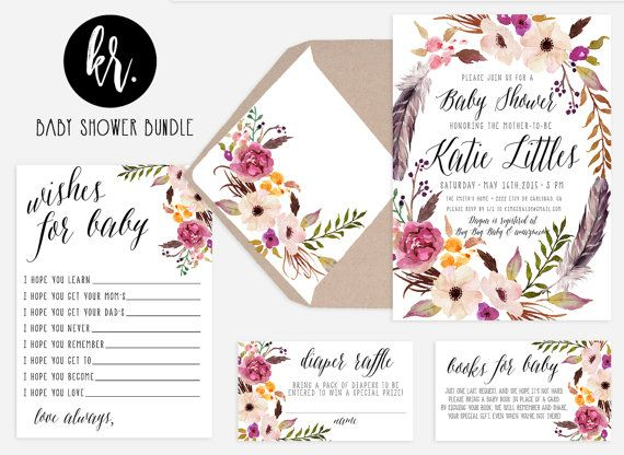Bohemian Baby Shower Invitations Bohemian Feathers And Floral