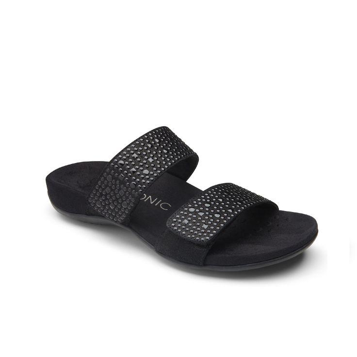 Vionic Samoa Slide Sandal in Pewter 341Samoa Slide sandals Pewter and Sandals