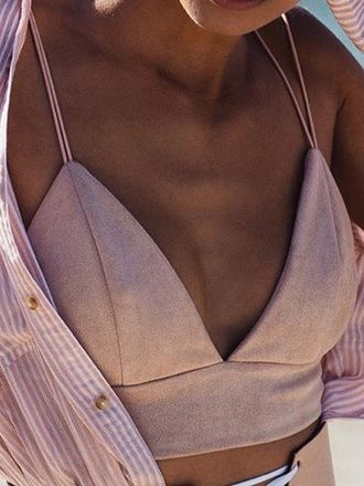 Pretty Light Pink Suede V-Neck Crop Top Beachwear With Pink And White Striped Open Shirt Summer Style