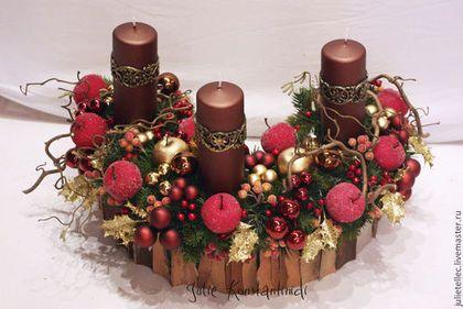 """Композиция """"Подковка"""" - бордовый,новогодняя композиция,Новый Год,рождество"""