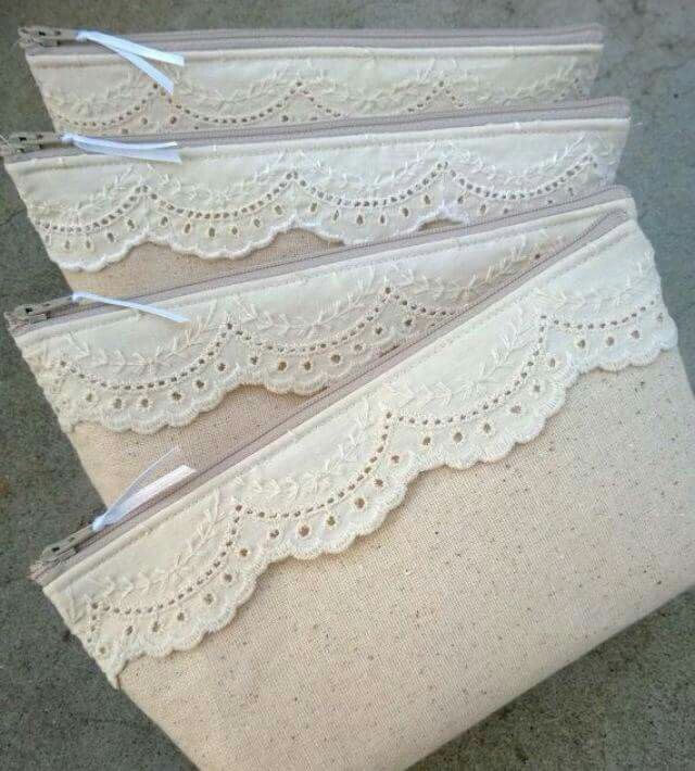 Lace and Linen Bridesmaid Clutches, Cotton Clutches, Lace Clutch, Make Up Bag…
