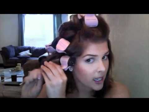 Despite the kissy faces at herself, this is a pretty good tutorial for hot rollers for shorter hair
