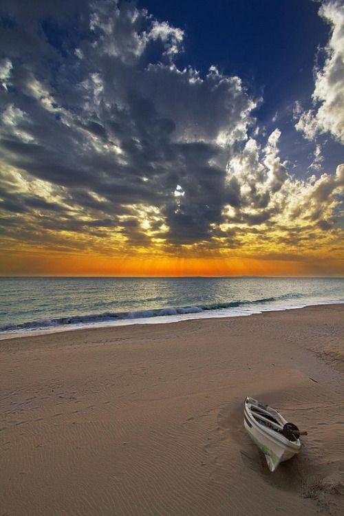 Sunset on Loutsa-Vrachos beach, Epirus, Greece