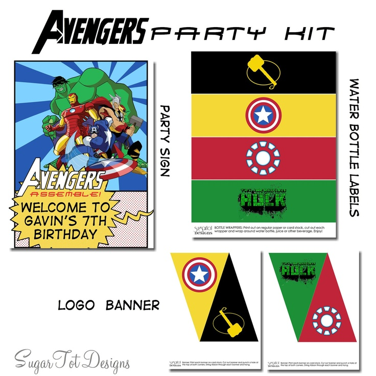 Avengers party kit for your Superheros that coordinates with Avengers birthday invitation found here:  https://www.etsy.com/listing/98979429/avengers-birthday-invitation-avengers